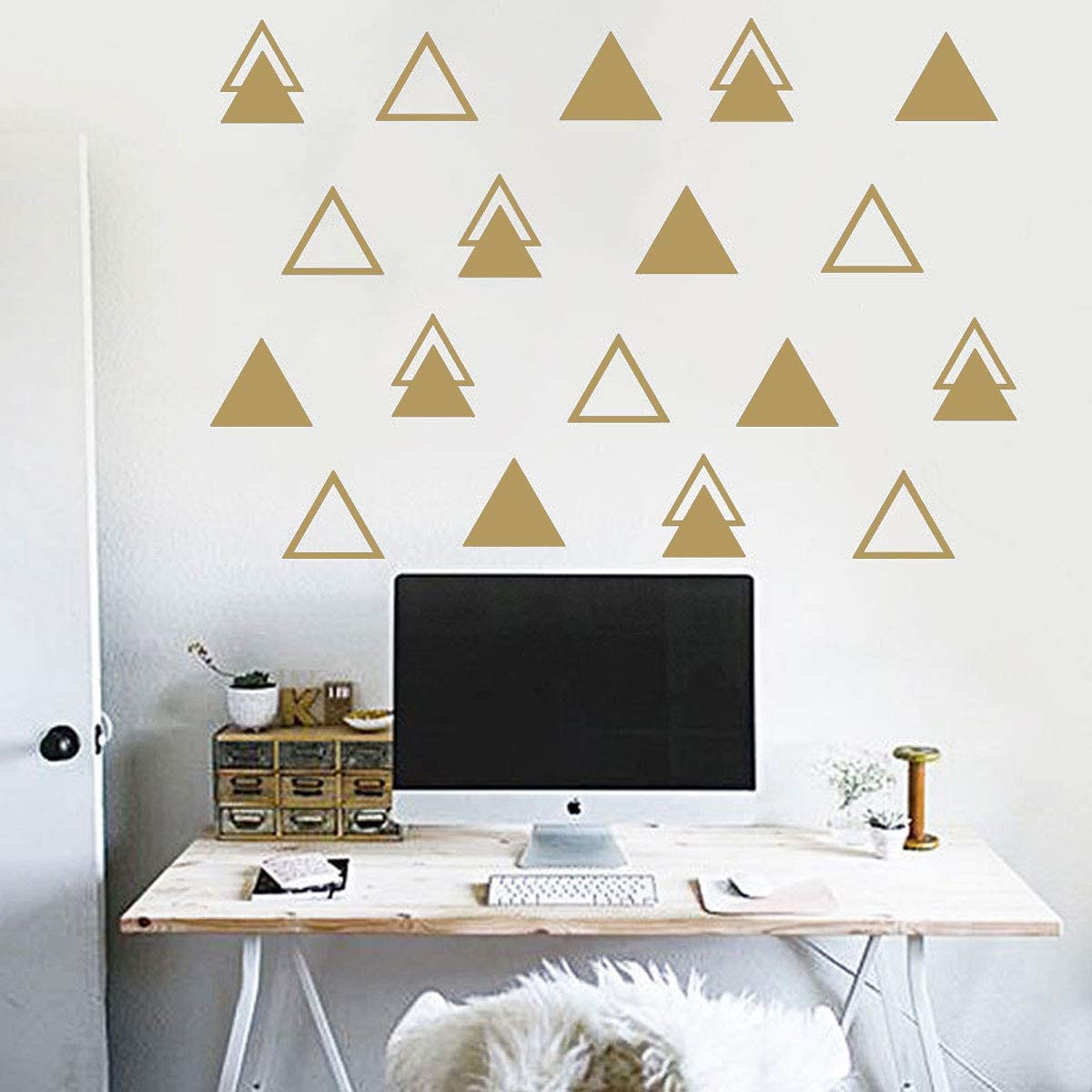 Triangle Wall Decal Stickers 90 Pcs Nursery Wall Removable Vinyl Stickers DIY Home Wall Decor for Baby Kids Bedroom 2.7-90 Silver