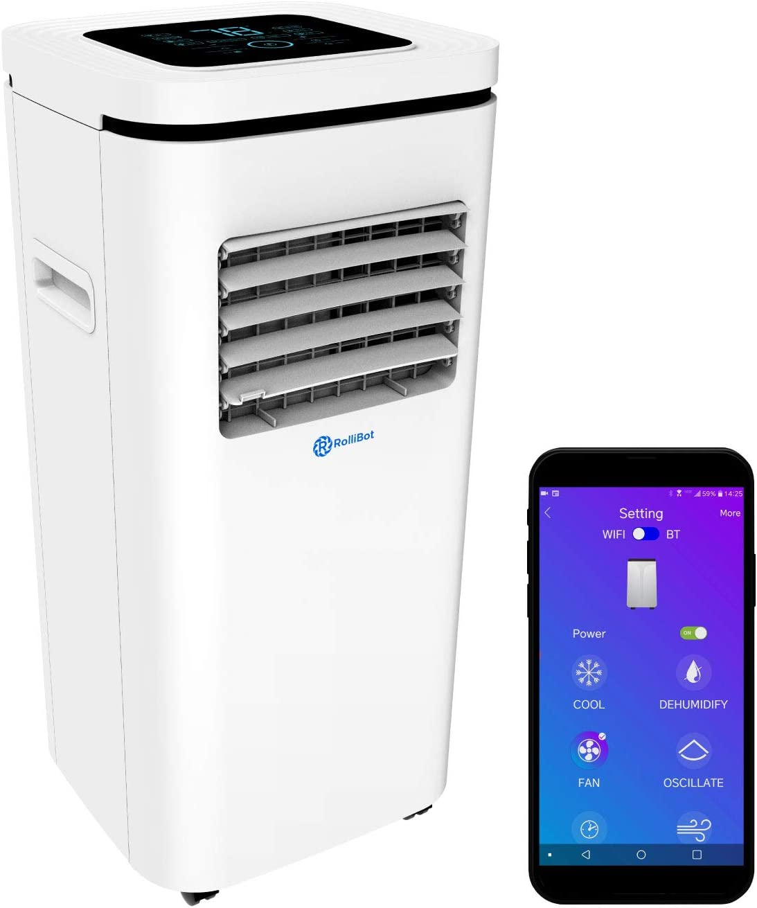 Rollibot ROLLICOOL Portable Air Conditioner w/App & Alexa Voice Control | Wi-Fi Enabled Portable AC & Dehumidifier | Quiet Operation, Easy Installation (10,000 BTU, White)