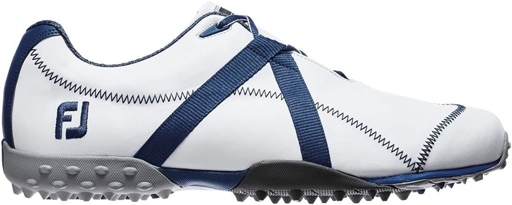 Sale Footjoy M Project Spikeless Leather Mens Golf Shoes White Blue 10 5 Uk Amazon Co Uk Shoes Bags