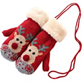 Knitted mittens with warm new plush lining, Christmas elk pattern gloves, Christmas gifts for boys and girls gloves
