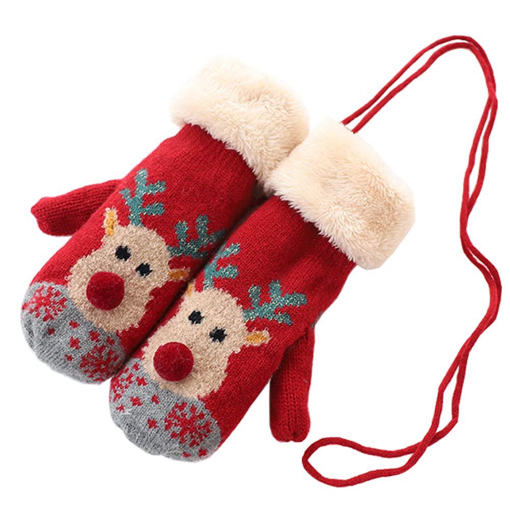 暖かい新しい豪華な裏地付きニットミトン、クリスマスヘラジカパターンの手袋、男の子と女の子の手袋のためのクリスマスプレゼント B07HFQN7TS