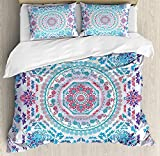 Purple and Turquoise Duvet Cover Mandala 4 Piece Bedding Set Twin Size, Medallion Design Floral Patterns and Leaves Boho Hippie Style Prints, Duvet Cover Set Quilt Bedspread for Childrens/Kids/Teens/Adults, Turquoise Pink and Purple