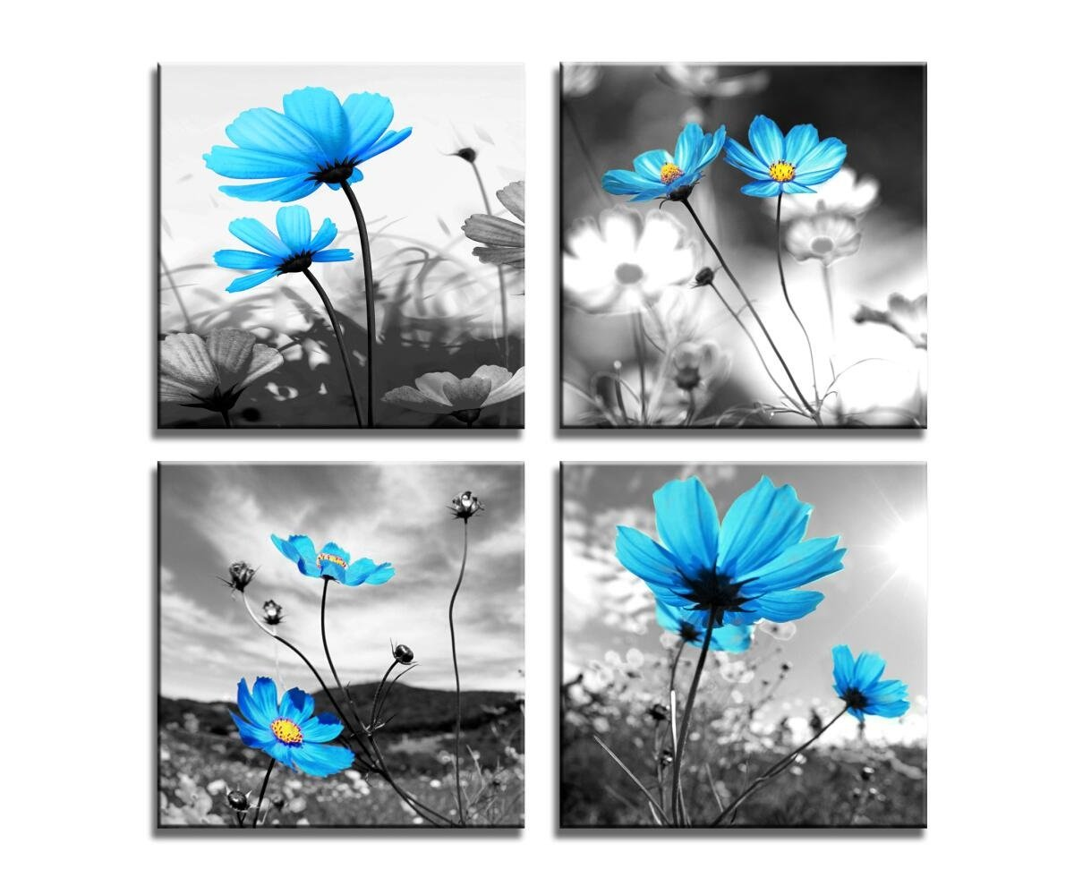 HLJ ART Modern Salon Theme Black and White Peacock Blue Vase Flower Abstract Painting Still Life Canvas Wall Art for Home Decor 12x12inches 4pcs/Set (Blue, 12x12inchesx4pcs (30x30cmx4pcs)) by HLJ ART