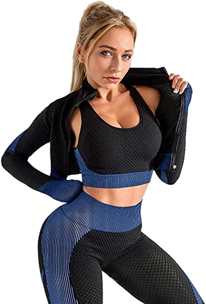 Women Seamless Yoga Suit Set Crop Top Bra Leggings Pants Tracksuit Sports Gym