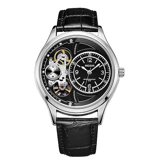Megir Casual cuarzo relojes automático de la segunda mano negro correa de piel: Amazon.es: Relojes