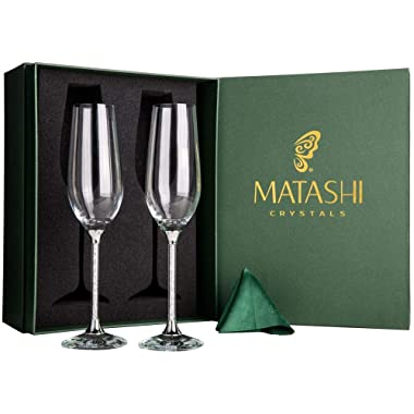 Matashi Set of 2 Champagne Flutes with Lead Free Titanium Sparkling Crystal Filled Long Stem Toasting Glasses, 8oz, 10-inch Tall Glassware- Romantic Glass for Valentines Day, Parties & Celebration