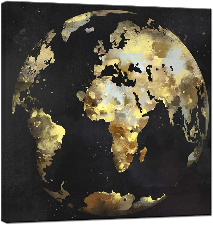 sechars Modern Black and Gold Wall Art Abstract World Globe Painting Prints on Canvas Modern Office Home Living Room Wall Decor Framed Artwork Ready to Hang