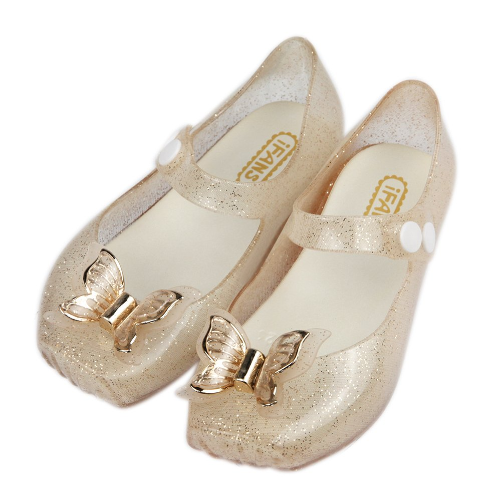 iFANS Girls Comfortable Cute Butterfly Toddler Kids Mary Jane Flats Ballet Shoes IF-CLD688-2