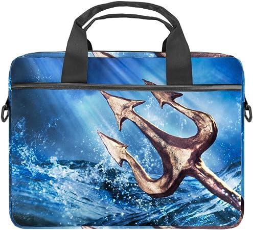 Embroidery Lighthouse Boat Sea WavesLaptop Case Canvas Pattern Briefcase Sleeve Laptop Shoulder Messenger Bag Case Sleeve for 13.4-14.5 inch Apple Laptop Briefcase