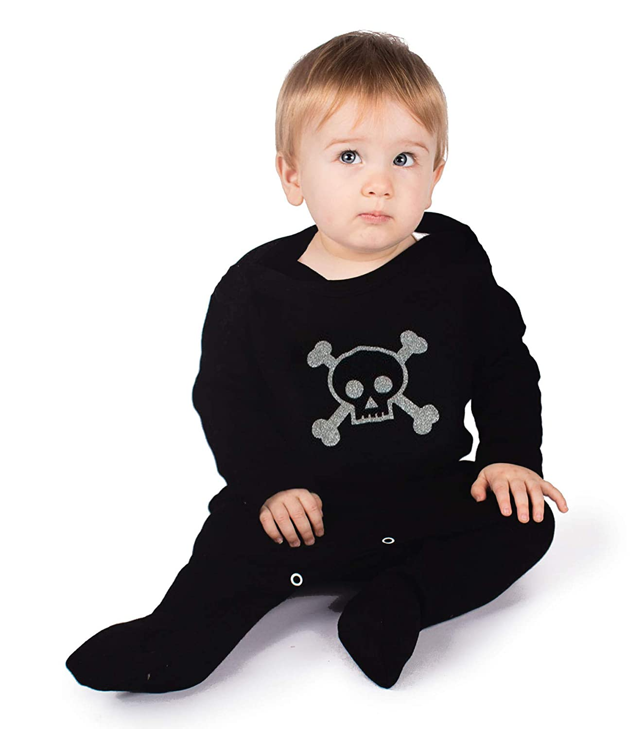 BABY MOOS UK Skull Baby Sleepsuit for Boys or Girls Ideal Baby Shower New Cool Skull /& Crossbones Pirate Romper Outfit Goth Baby Clothes or 1st Halloween Gift 6-12 months