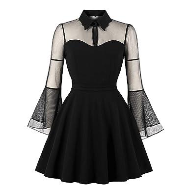 04b5729f2ecc Wellwits Women's Keyhole Mesh Bell Long Sleeve Knee Swing Cocktail Dress S  Black