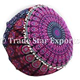 Trade Star Exports Indian Mandala Pouf Cover, Ethnic Ottoman Cover Pouf, Decorative Round Cotton Footstool, Boho Home Decorative Pouffe (Pattern3)