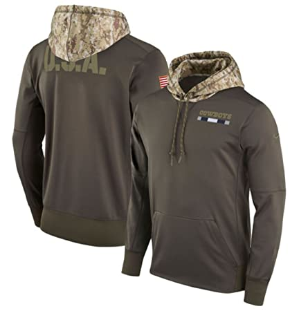 new style 40031 1abab Dallas Cowboys Nike Olive Salute to Service Sideline Therma-Fit Pullover  Hoodie