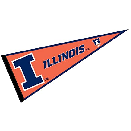 College Flags and Banners Co  Illinois Fighting Illini Pennant Full Size  Felt