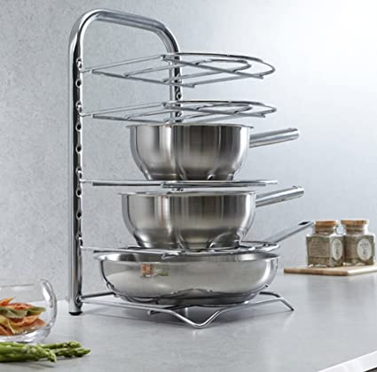 Amazon Com Frying Pan Rack 5 Tier Kitchen Storage Stainless Steel