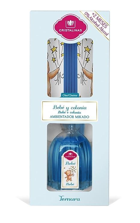 CRISTALINAS 10010821 Ambientador Bebé Y Colonia, Cristal, Azul, 8x6x21 cm