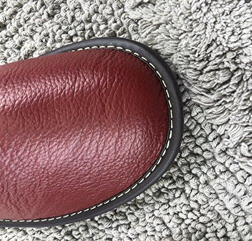 Maison Mules Souple Homme glissant Anti Femme Fluidale Rouge Foncé Cuir Luxe Pantoufles Texture Bureau Confortable Osvino Mode BqSwzx47OO