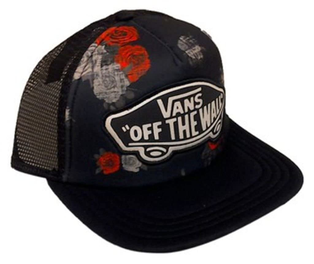 c15b6888957 Vans Off The Wall Women s Beach Girl Trucker Snapback Hat Cap - Roses at  Amazon Women s Clothing store