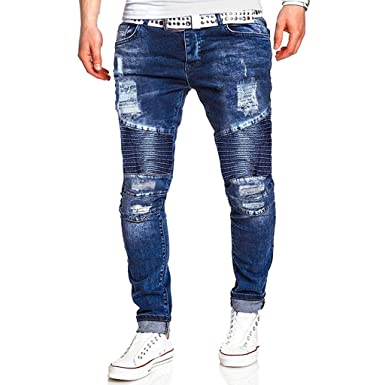 Vectry Pantalones Hombre Moda Causal Bolsillo con Cremallera Slim ...