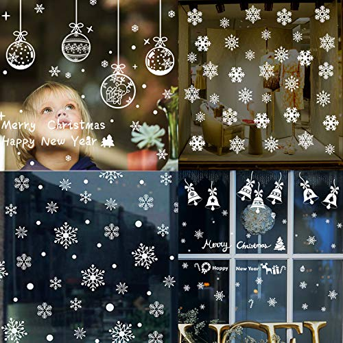 6 Sheet Christmas Window Sticker Christmas Tree Wall Sticker Christmas Window Clings Decor Xmas Bell Decoration Ornament Snowflake Deer Hanging Ball Christma Window Display for Christmas Decoration ()