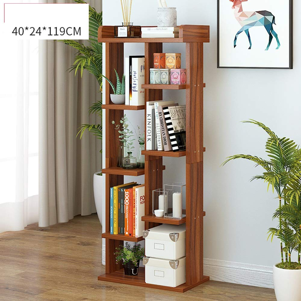 ZHIRONG Bookshelf Floor-Standing 4 Layers Storage Rack Modern Living Room Display Stand Bookcase 40 * 24 * 119CM (Color : Brown) LIU