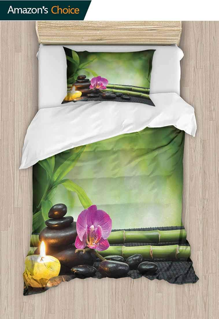 Spa Printed Duvet Cover and Pillowcase Set, Orchid Bamboo Stems Chakra Stones Japanese Alternative with Feng Shui Elements, Cool 3D Outer Space Bedding Digital Print - 2 Piece, 79 W x 90 L Inches