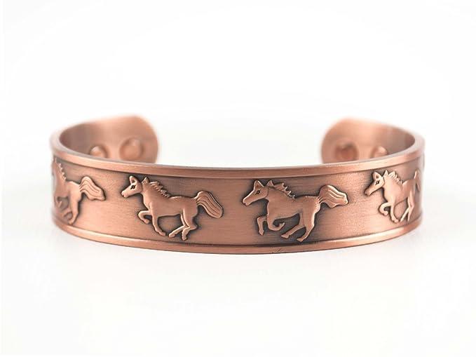 Caballos salvajes 6 Iman Liberty Health pulsera de cobre: Amazon.es: Salud y cuidado personal