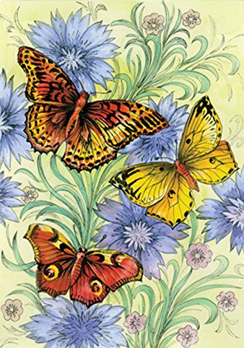 Toland Home Garden Flowers and Butterflies 28 x 40 Inch Decorative Spring Butterfly Flower House Flag
