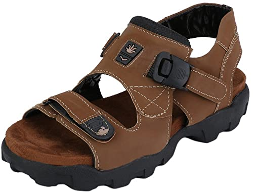 05ae67a7fc70 Afrojack Men S Brown Suede Leather Rich Sandals (7)  Buy Online at ...