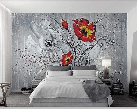 Papier Peint Intiss/é Tapisserie Murales Panoramique 3D Peinture /À LHuile Fleur Alphabet Anglais Peintures Murales Papier Peint Chambre Enfant Adulte Poster Geant Mural