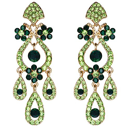Austrian Crystal Stones - EVER FAITH Art Deco Gold-Tone Flower Vase Chandelier Dangle Earrings Austrian Crystal Peridot Color