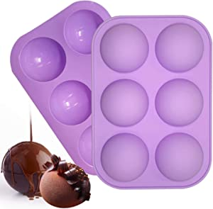 SYNCHAIN Half Circle Silicone Mold, 2 Packs 6-Cavity Hot Cocoa Chocolate Bomb Mold, Festival Party Food Grade Silicone Mold Muffin Cookie Baking Mould For Chocolate, Cake, Jelly, Pudding (Purple)