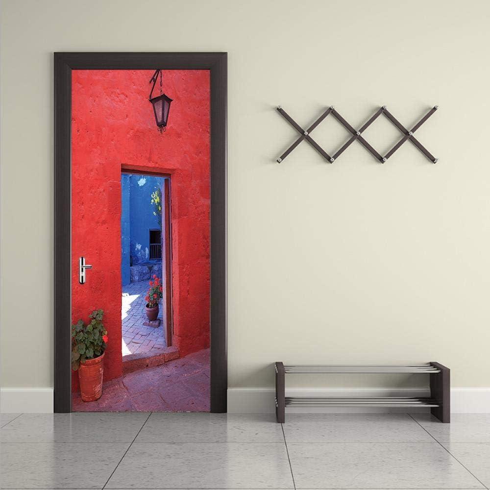 Puerta de pared de ladrillo rojo 77X200CM Puertas Pegatinas 3d Para Interior Dormitorio Baño Cocina Niños Diy: Amazon.es: Bricolaje y herramientas