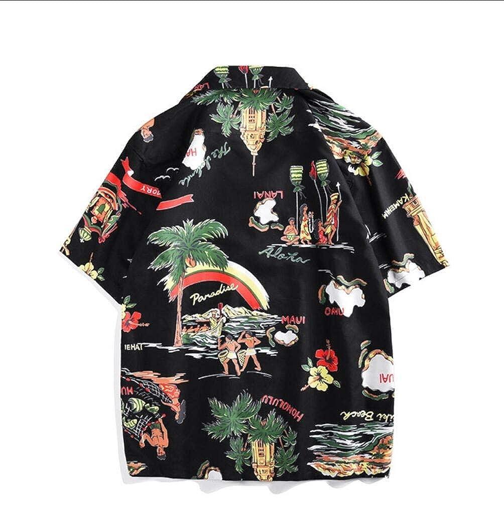 Vska Mens Plus Size Printing Short Sleeve Casual Hawaii Style Shirts