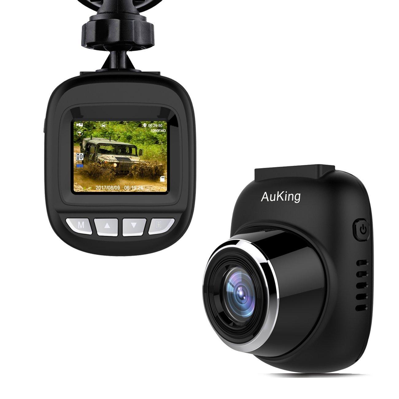 Dash cam per auto, AuKing telecamera auto dash cam macchina fotografica Full HD 1920x1080p Schermo da 1,5 pollici Mini Dash Cam per auto 168 gradi Angolo auto Dash Cam