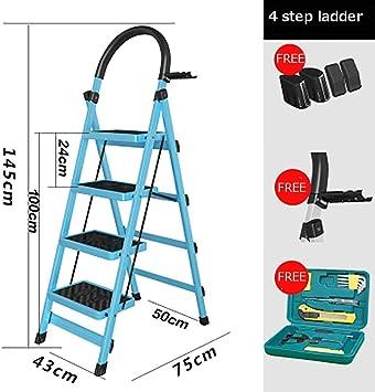 Escalera plegable, multifunción, antideslizante, resistente, para hogar, cocina, oficina, almacén, azul: Amazon.es: Bricolaje y herramientas