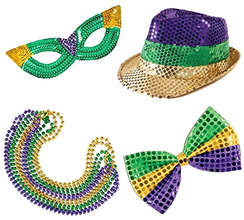 [Mardi Gras Party Set. Includes Sequin Mask, Fedora Hat, Masks, Glitz 'N Gleam Bow Tie, Beads,] (Jumbo Mardi Gras Beads)
