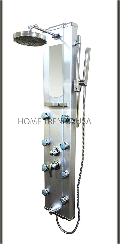 Aluminio Columna de ducha panel Spa de chorros de masaje W con ...