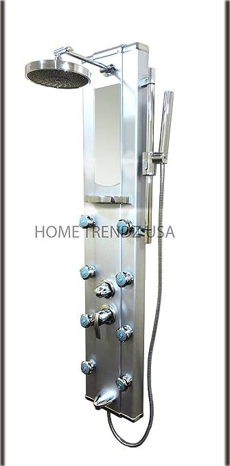 Aluminum Shower Tower Massage Jets W Spa Panel With Rainfall Head Bath