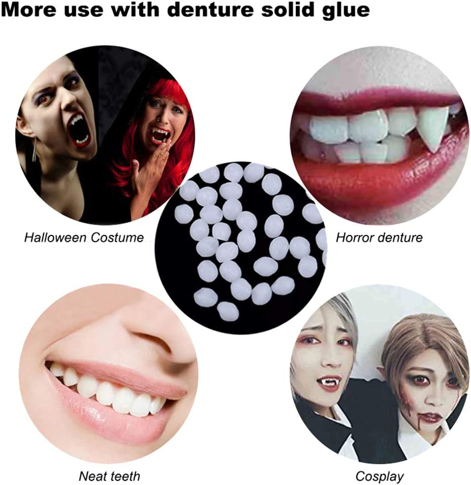 Calidum 3 Sizes Vampire Teeth Fangs with 1 Tube Teeth Pellets Adhesive Halloween Horror Party Favors Werewolf Fangs Vampire Dentures Cosplay Costumes Accessory Prop Decoration