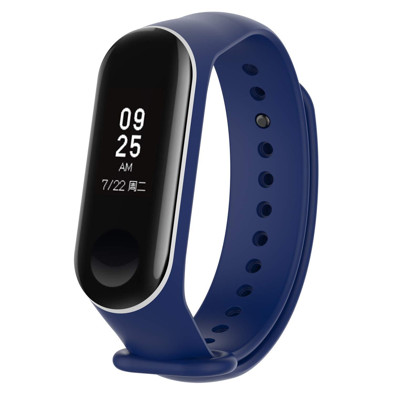 XIHAMA Correa para Xiaomi Mi Band 3, Silicona Suave Reemplazo Banda Fitness Deportes Pulsera de Actividad para Miband 3 (Azul Oscuro/Blanco)