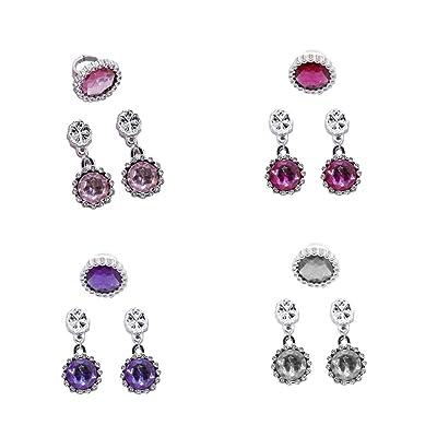 TOYMYTOY 4 Paires Boucles d'oreilles Rondes Boucles d'oreilles pour enfant (violet / blanc / rose / rose rouge)