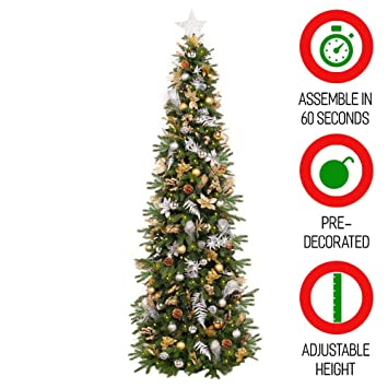 Christmas Tree Setup.Easy Treezy Prelit Christmas Tree Easy Setup Storage In 60 Seconds 7 5 Ft Realistic Natural Douglas Fir Pre Lit Artificial Tree With Led Lights