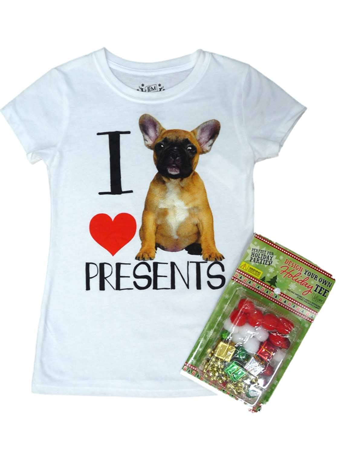 Jem Girls Design Your Own Holiday Dog T-Shirt Kit I Love Presents Tee Shirt