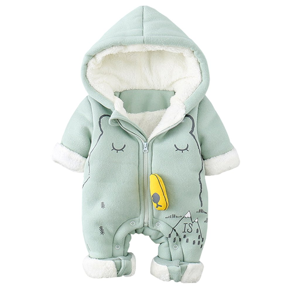 Free Fisher-Traje de Nieve Bebé Fleece Ropa de Invierno Peleles Niños Niñas Cálido Mameluco con Capucha Rompers Algodón