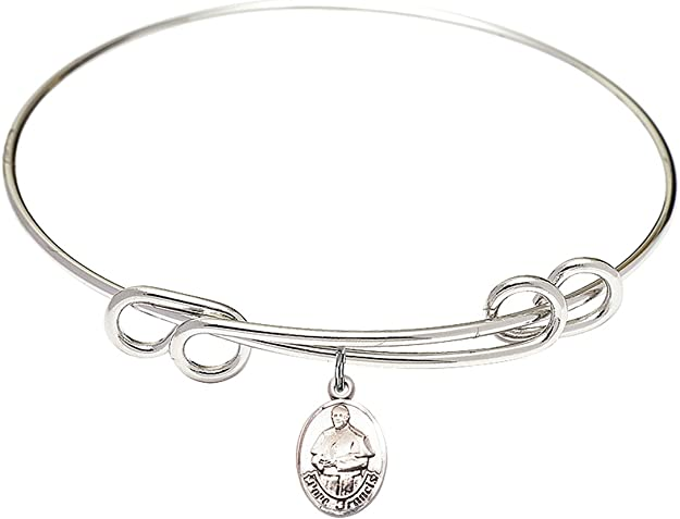 Pope Francis Charm On A 8 1//2 Inch Round Double Loop Bangle Bracelet