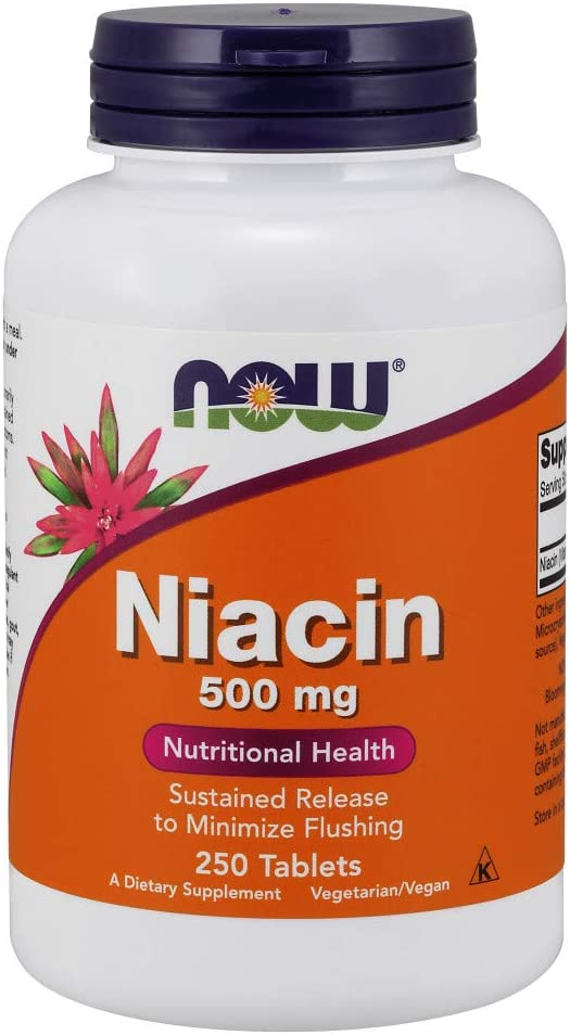 NOW Supplements, Niacin 500 mg, Sustained Release, 250 Tablets