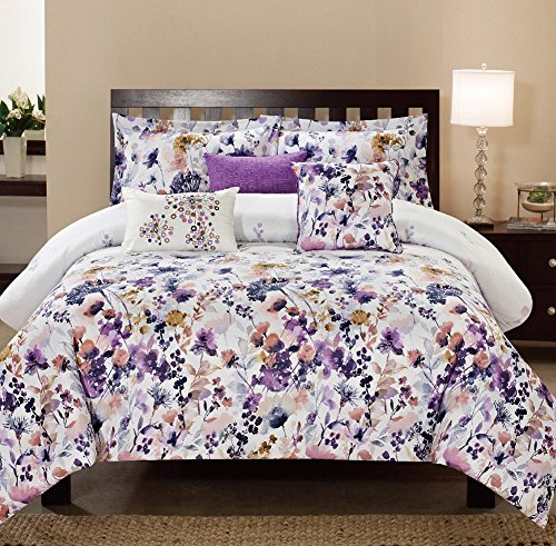 Princess Magical Garden Bedding - Magic Garden 6-piece Floral Abstract Comforter Set, Magical Floral Design In Whimsical Colours, Bring Life To Your Bedroom, Premium 100% Polyester, 90x92 Inches (Queen)