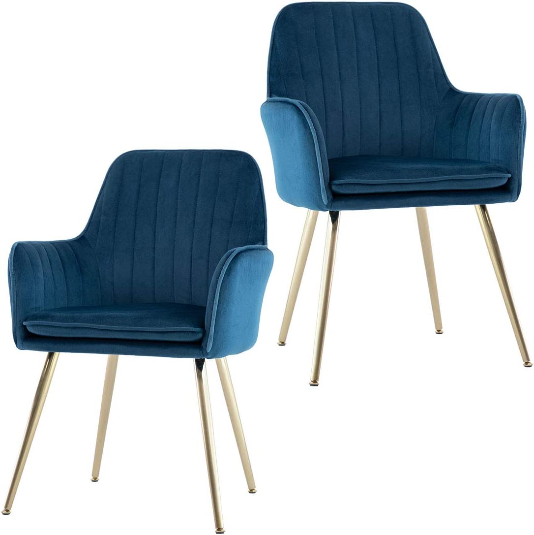 GOLDEN BEACH Velvet Dinning Chair Set of 2 Mid-Back Accent Chair Modern Leisure Armchair with Gold Plating Legs Upholstered Living Room Chair (Navy Blue)