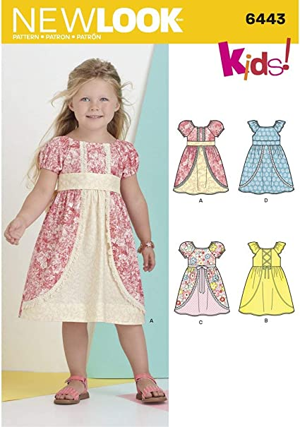 New Look Pattern 6443A Childs Dress with Fabric and Trim Variations Paper 22x15x1 cm